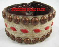 Brindle Cowhide Cuff Bracelet with Red Buckstitch by Running Roan Tack