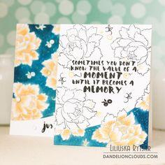 Дві листівки із саморобного фону... Two cards and DIY background - Dandelion Clouds