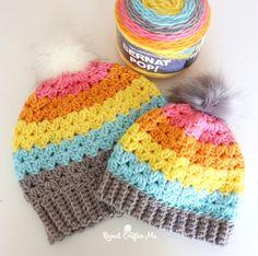 Crochet Cluster V-Stitch Hat with Bernat POP! Yarn - Repeat Crafter Me Easy Crochet Hat, Easy Crochet Stitches, Crochet Baby Hat Patterns, Crochet Cozy, Crochet Winter, Crochet Baby Hats, Crochet Beanie, Crochet Yarn, Free Crochet