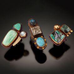 Sterling silver, 22k gold, Turquoise, Opal, Labradorite, Varisite