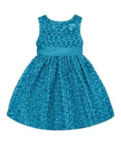 Loving this Turquoise Rosette Dress - Toddler & Girls on #zulily! #zulilyfinds