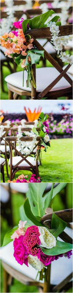 Hawaii wedding, ceremony seating, chair décor, tropical flowers, hot pink & orange, palm fronds, oceanfront // Damion Hamilton Photographer | Destination wedding design, destination wedding Hawaii