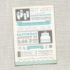 Cute!!    Bridal Shower Invitation, Beach, Destination Wedding, Beach Wedding, Beach Bride (PRINTABLE)