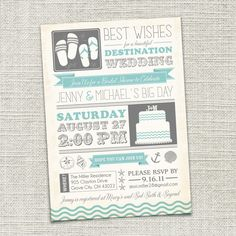 Cute!!    Bridal Shower Invitation, Beach, Destination Wedding, Beach Wedding, Beach Bride (PRINTABLE)