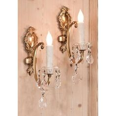 Antique Lighting | Pair of French Brass and Crystal Sconces | www.inessa.com