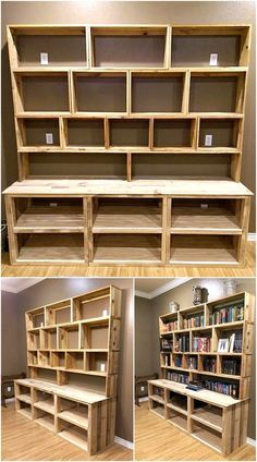 Break Down a Pallet the Easy way for Wood Projects - Paletten projekte Handmade Bookshelves, Wood Bookshelves, Bookshelf Plans, Diy Bookshelf Wall, Pallet Hutch, Pallet Shelves, Recycled Pallets, Wooden Pallets, Wooden Pallet Projects