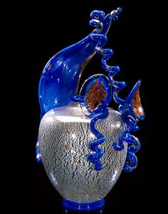 Dale Chihuly Glacier Blue Piccolo Venetian with Coiled Leaf and Flowers