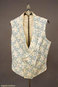 Augusta Auctions, November, 2007 -Tasha Tudor Historic Costume Collection, Lot 350: Blue  White Marseilles Vest, France, 1830-1840