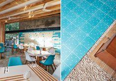 Contraste en el CARIBE Mexican Interior Design, Coffee Shop Interior Design, Cozumel, Interior Architecture, Tile Floor, Interiors, Spaces, Modern, Inspiration