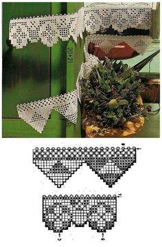 Filet Crochet, Knit Crochet, Yarn Crafts, Diy And Crafts, Crochet Curtains, 3d Paper, Crochet Projects, Needlework, Crochet Patterns