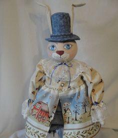 Rabbit Art Doll Folk Art bunny rabbit cloth by MorningMistDesigns