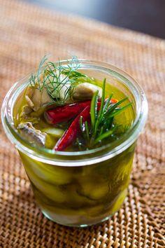 牡蠣のオリーブオイル漬け by blue_point Blue Point, Culinary Arts, My Recipes, Pickles, Olive Oil, Cucumber, Food And Drink, Soup, Herbs