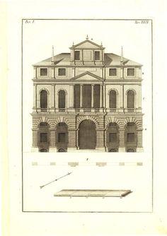Architect Drawing Andrea Palladio House 1760 by CarambasVintage, $78.00