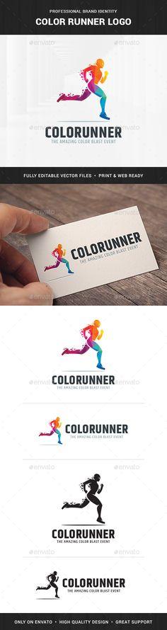 Color Runner Logo Template - Humans #Logo Templates
