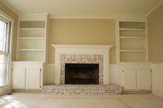 whitewashing on a red brick fireplace, built ins around fireplace.  May need to show this to my folks