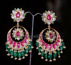 Jewellery Designs: Green Boond Jhumka for Wedding