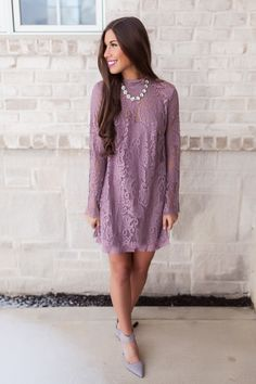 Lavender Lace Overlay Dress - Dottie Couture Boutique