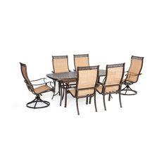 Hanover Manor 7pc Dining Set: One Cast Dining Table, 2 Slng Swl Rkr, 4 Slng Chrs