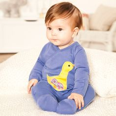 Duck Appliqué Baby Sleepsuit, Baby Sleepsuits and Bodies, Baby Clothes