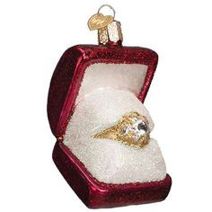 """Ring in a Box Christmas Ornament 32176 Merck Family's Old World Christmas Size: 3 1/2""""   Great keepsake for that big day))  #trendyornaments #owc"""