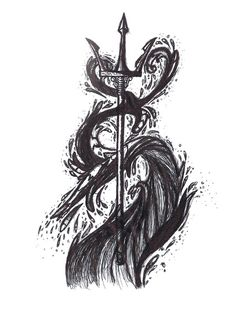 Poseidon's Trident tattoo design