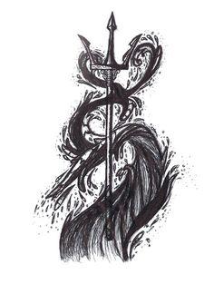 Poseidon's Trident tattoo design