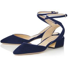 Amazon.com | YDN Women's Low Block Heel Sandals Pointy Toe Slingback... ($0.16) ❤ liked on Polyvore featuring shoes, pumps, ankle strap pumps, pointed toe d orsay pumps, slingback shoes, pointy-toe pumps and d orsay pumps