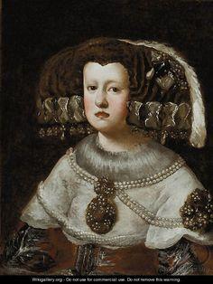 Portrait of Queen Mariana of Austria - (after) Diego Rodriguez De ...
