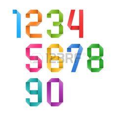 Kleurrijke origami cijfers Stockfoto