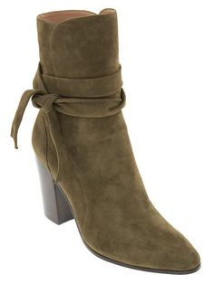 Olive green leather bootie from BR - gorgeous!