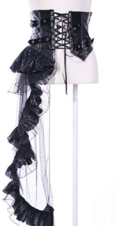 Gothic Steampunk Victorian Visual Kei Black Waist Cincher Side Overskirt M