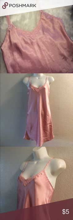 Pretty pink slip camisole Size medium. Pretty pink satin Lingerie slip camisole. Straps are NOT adjustable. Very clean and laundered. Wrapped and shipped with Care and tracking . sopr'e lingerie  Intimates & Sleepwear Chemises & Slips