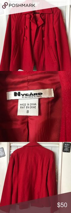 Absolutely beautiful wool coat red Absolutely beautiful wool coat red hardly worn Nygard collection Jackets & Coats Blazers