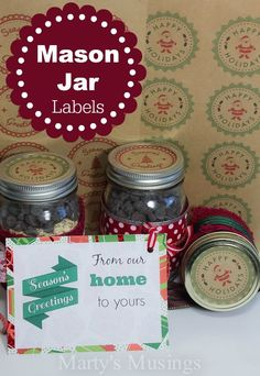 These Christmas mason jar labels and tags will be perfect for the homemade gift in a jar for your favorite person. Included are free printables and suggestions for gifts in a jar.
