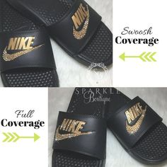 809dae7f68b Bling Women s Benassi JDI Nike Slides Bedazzled with GOLD Crystals All  Sizes Sparkly Nike Slides Sli