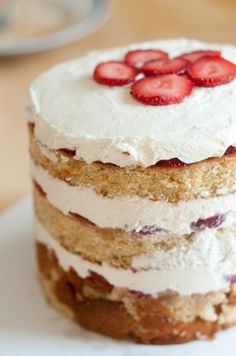 Recipe for a strawberry and cream cake using a layer cake method from the Momofuku Milk Bar cookbook