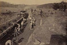 """Excavating for """"Y"""" at Devereux Station, Orange & Alexandria Railroad; General Hermann Haupt supervising a construction site at Devereux Station of the Orange & Alexandria Railroad in Clifton, Virginia"""