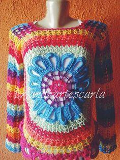 Criando Artes Carla: Blusa Happy em Crochê