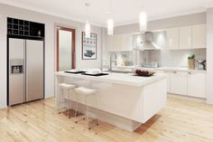 All white kitchen with natural accessories and light flooring.