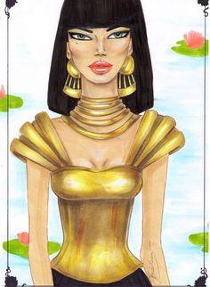 Fashion illustration of egypt  gold princess rendering