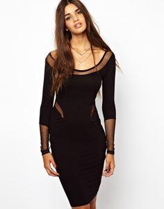 Religion Mesh Back Long Sleeve Midi Dress