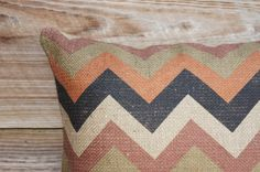MadMen Chevron Pillow Cover Burlap Feed Sack by TheWatsonShop, $46.00