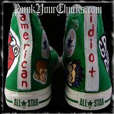 517608e473ae Green Day American Idiot Custom Converse Sneakers