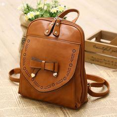 Vintage Style PU Leather Bow Backpack|Fashion Backpacks - Fashion Bags- ByGoods.com