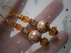 Ohrringe marmoriert in Schokocaramel orange braun von kunstpause auf DaWanda.com