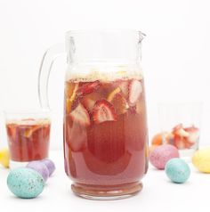 Whether youre hosting or heading elsewhere make a pitcher of this Kid-Friendly Easter Punch for Brunch. Filled with fresh fruit juice and ginger ale it will be a big hit with kids and adults alike. Easter Brunch Menu, Easter Dinner, Easter Recipes, Holiday Recipes, Easter Desserts, Kid Recipes, Party Recipes, Summer Recipes, Fun Drinks