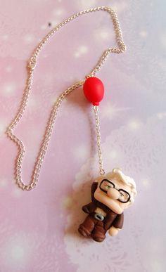 Up! Handmade necklace with handmade polymer clay Carl charm hanging by the balloon, Anime jewelry, Kawaii