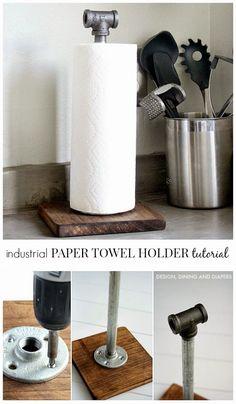 Φτιάξτε Industrial θήκη για το χαρτί κουζίνας! | Φτιάξτο μόνος σου - Κατασκευές DIY - Do it yourself
