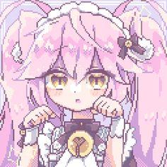 Kawaii Art, Kawaii Anime Girl, Anime Pixel Art, Anime Art, Pretty Art, Cute Art, Arte 8 Bits, Pixel Drawing, Animated Icons