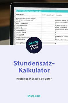 Mit diesem kostenlosen Excel-Kalkulator kannst du im Handumdrehen deinen richtigen Stundensatz berechnen, um kostendeckend zu arbeiten.